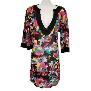 Anne Cole Floral Swimsuit Cover Up Beach Tunic S/M